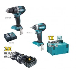 KIT DLX2180TJ1 (DHP484+DTD153+3 BL1850B+DC18RC+MAKPAC)