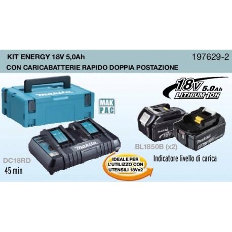 KIT ENERGY MAKITA 198116-4 18V 6,0 AH COMPOSTO DA: VALIGETTA MAKPAC + 2 BATTERIE BL1860B + DC18Rc - 198116-4