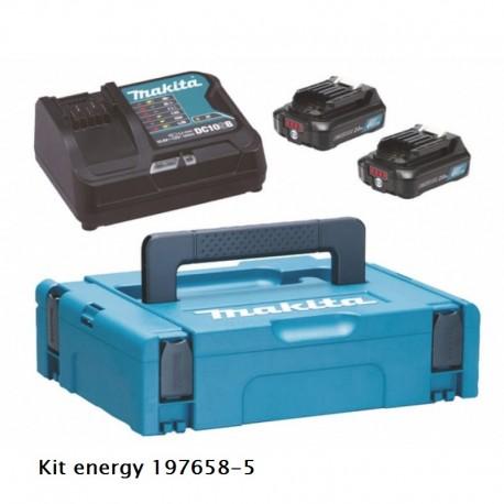 MAKITA KIT ENERGY 10,8V 2,0 AH composto da 2 batterie BL1021B+caricabatterie DC10SB+ valigetta Makpac